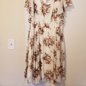 Cream floral dress size 2